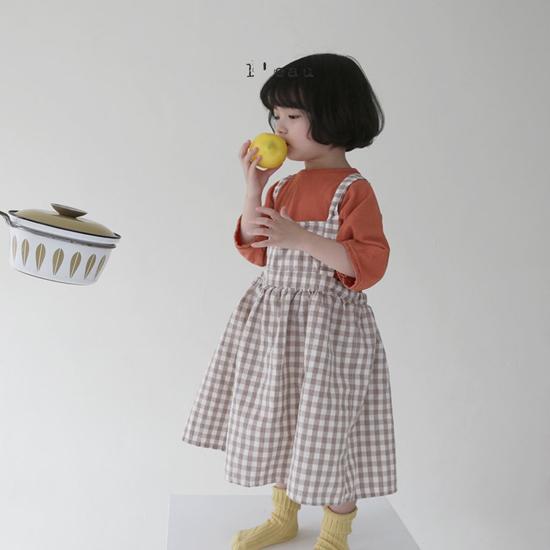 L'EAU - Korean Children Fashion - #Kfashion4kids - Check String One-piece - 5